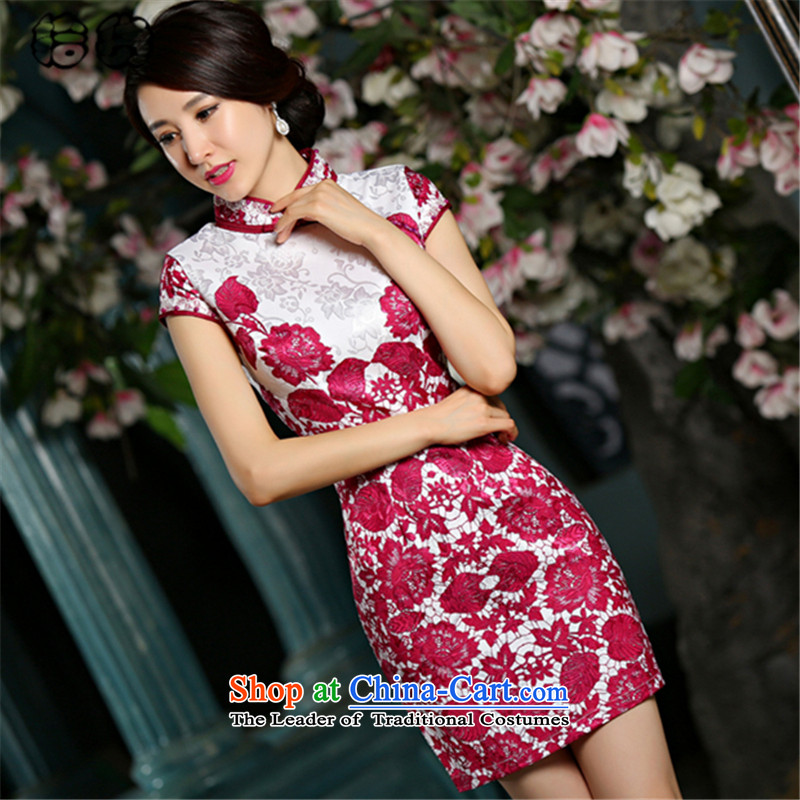 The 2015 summer, pickup cheongsam dress is traversed by the improved retro China wind porcelain short of high-end cheongsam dress daily Sau San short-sleeved go qipao female RED聽M