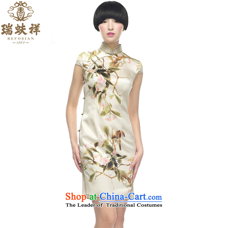Rui or Silk Cheongsam short-cheung 2015 New China wind retro style qipao Sau San sauna silk dresses white燬