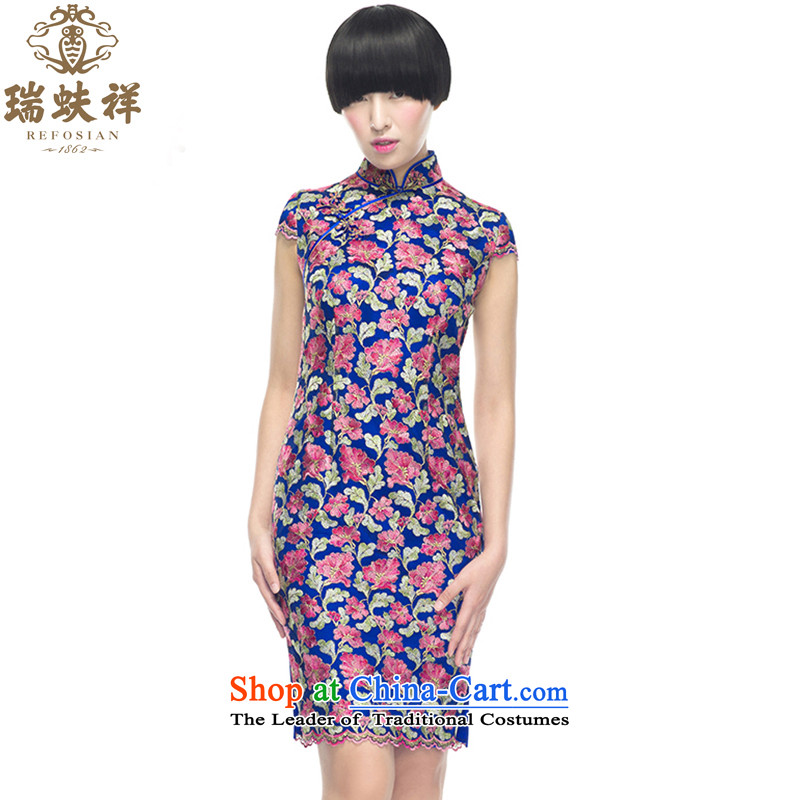 Rui or Silk Cheongsam short-sleeved lace slimming shell dresses 2015 new products and stylish and well refined China wind qipao purple燬