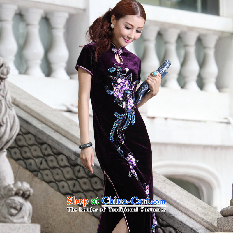 Eason Chan point long embroidery retro QIPAO_ wedding dresses mother Dinner Package round-neck collar middle-aged larger Kee-sleeved gown skirt purple燲L payment for about a week shipment