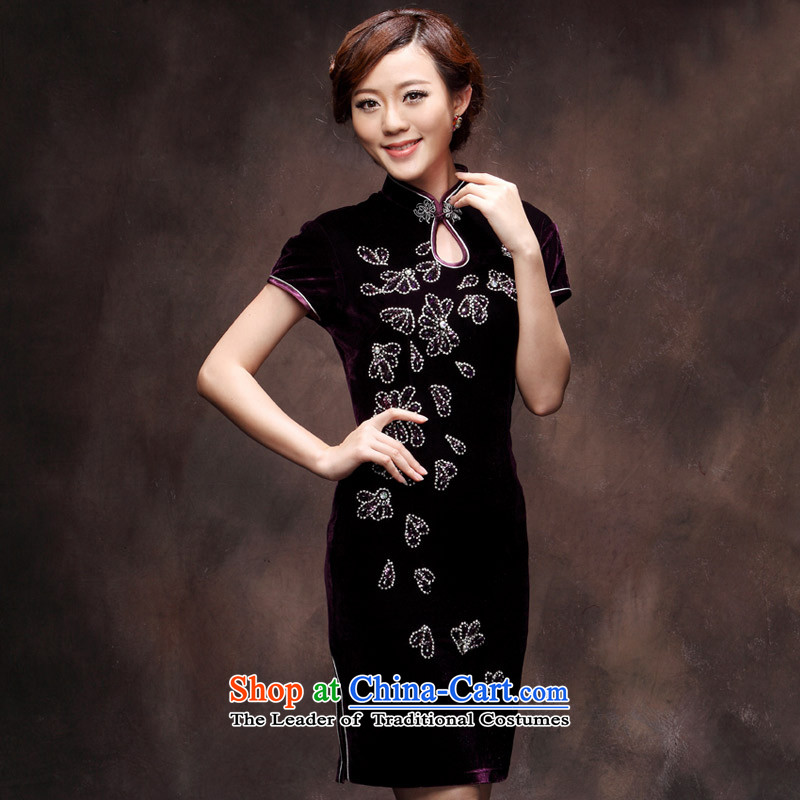 ?The new 2015 qipao velvet spring large wedding marriage Sau San stylish wedding mother Chinese qipao purple?XXL payment for about a week after shipment