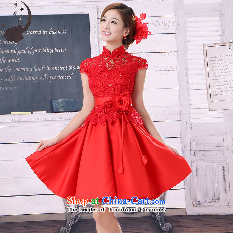 2015 new bride dress marriage Chinese bows service stylish improved engraving qipao back door onto the autumn and winter load 117 RED?M
