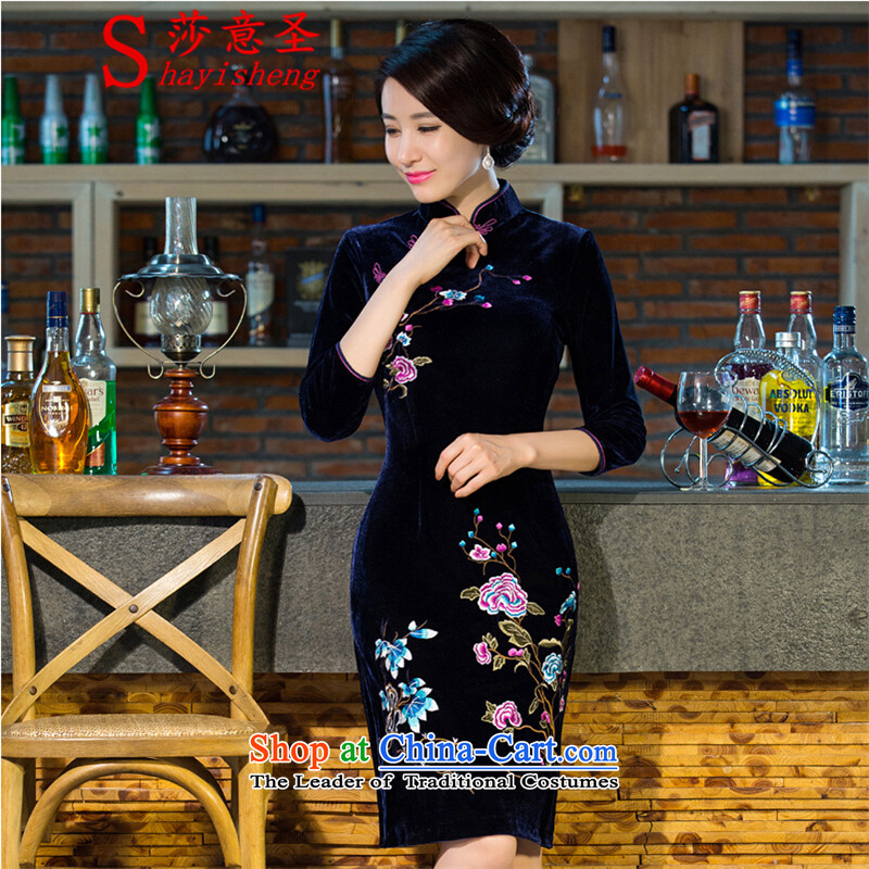 Sha to Saint cheongsam dress code mother Tang Dynasty Large 2015 autumn and winter in new long-sleeved Kim scouring pads improved retro wedding dress blue-violet?XL