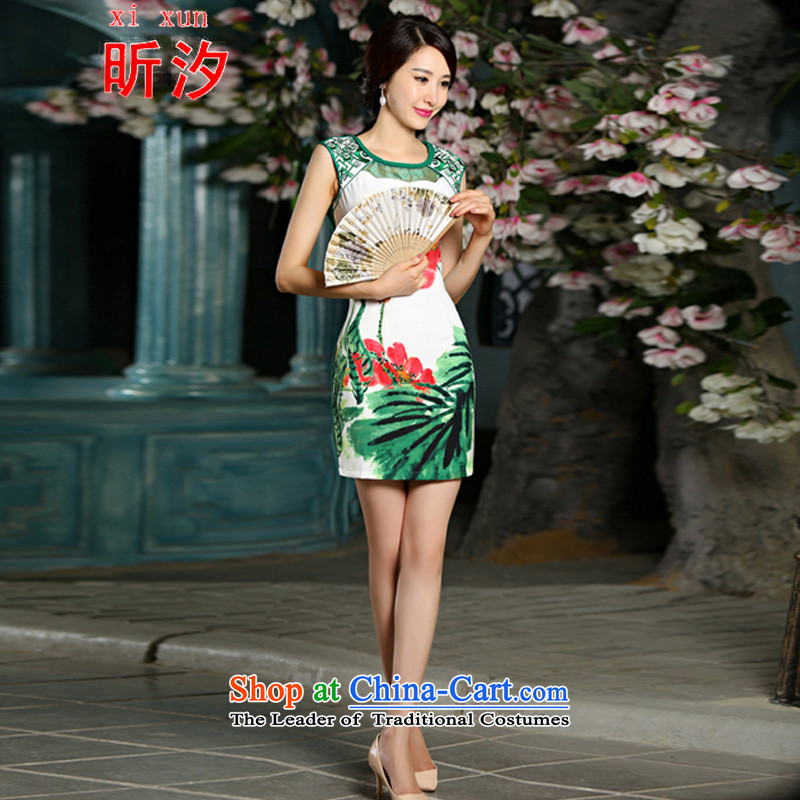 The litany of desingnhotels� &2015 Amoi Embroidery Stamp temperament Sau San improved cheongsam dress #9021 green�XL
