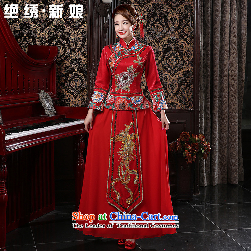 In spring and summer 2015 new red long marriages bows services retro graphics thin large improved long-sleeved qipao RED M