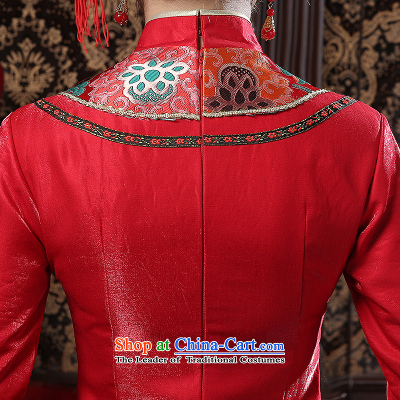 In spring and summer 2015 new red long marriages bows services retro graphics thin large improved long-sleeved red M is embroidered cheongsam bride shopping on the Internet has been pressed.