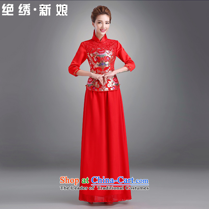 Embroidered brides is?2015 autumn and winter new red winter clothing cheongsam dress cotton long-sleeved clothing Chinese dragon use bows brides?in 411 pack cuff not loading?L?Suzhou Shipment
