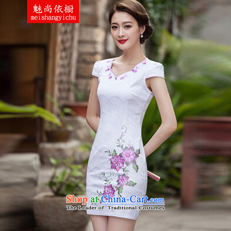 In accordance with the cabinet 2015 staff is the new spring and summer with stylish qipao short, Retro cheongsam dress daily qipao map color?XXL