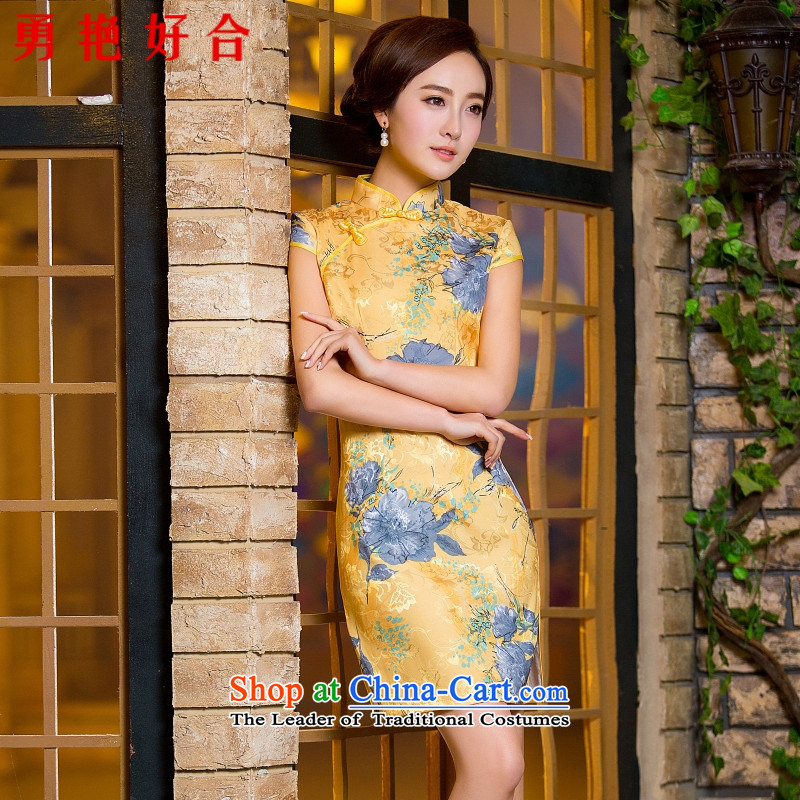Yong-yeon and new 2015 summer short of adolescent girls in the summer improved graphics Ms. thin summer Sau San_ Foutune of qipao skirt dresses female picture color燤
