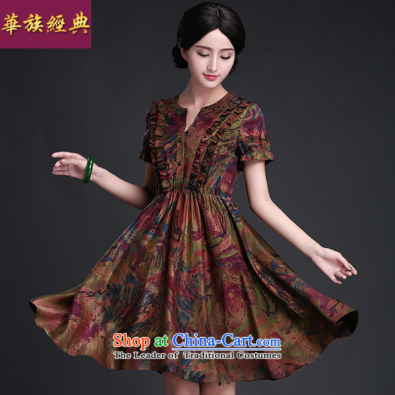 China Ethnic classic cheongsam dress 2015 Summer for women silk incense cloud yarn improved short-sleeved dresses ethnic drunken breeze燣