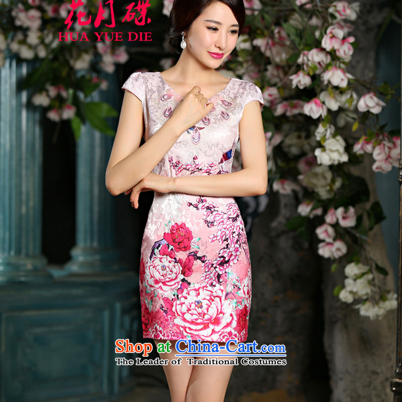 The new drive in the time of stamp qipao dresses summer stylish improved diamond stamp cheongsam dress pink�XL