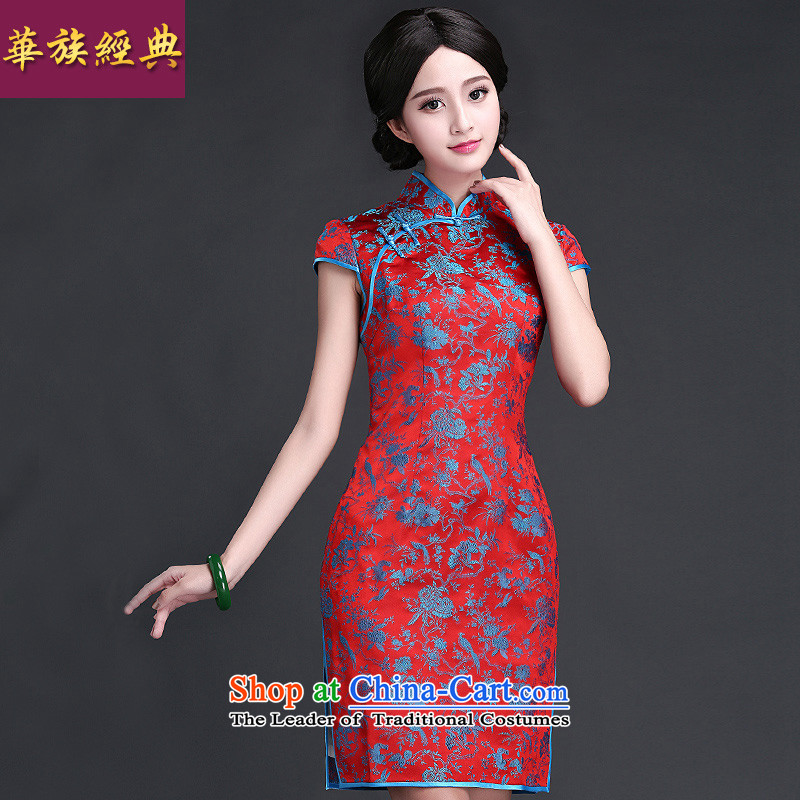 Chinese New Year 2015 classic ethnic Ms. daily cheongsam dress for summer 2015 new improved stylish ethnic blue qipao Kam燬