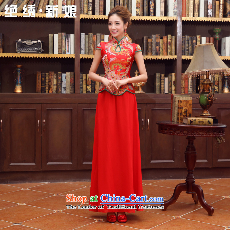 Embroidered dragon robe brides is red retro bridal dresses dresses improved marriage bows services wedding short-sleeved bride load custom red made does not allow