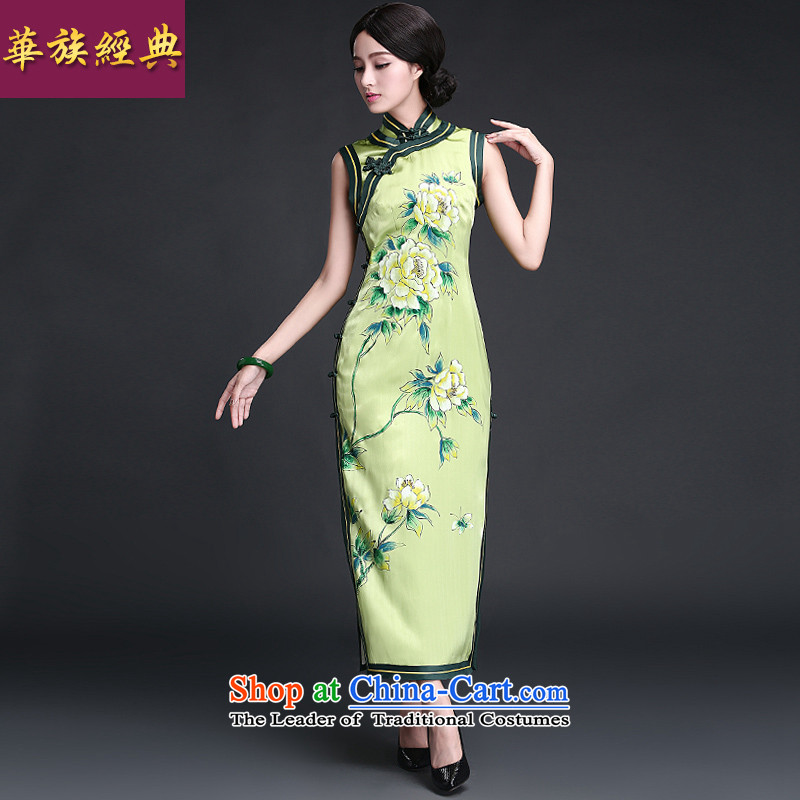 Chinese New Year 2015 classic ethnic summer silk herbs extract Ms. hand-painted improved qipao antique dresses long grass green XL