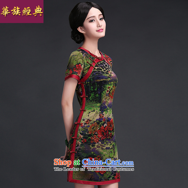 2015 Summer new silk yarn daily qipao cloud of incense dresses retro style suit燲XXL improved Sau San