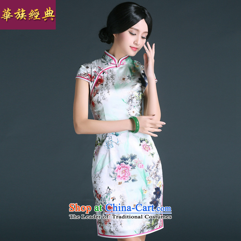 China Ethnic classic 2015 Summer herbs extract silk cheongsam dress Stylish retro improved daily short of Sau San abounds president�S