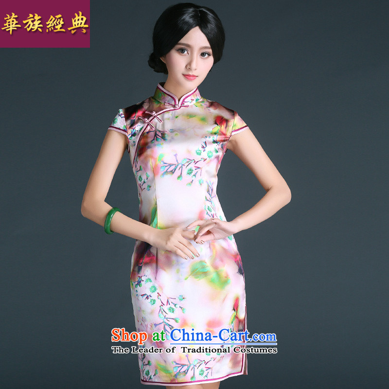China Ethnic Chinese Antique improvement classic 2015 Ms. Silk Cheongsam everyday dress summer short of being a stylish decoration qp燲XXL Suit