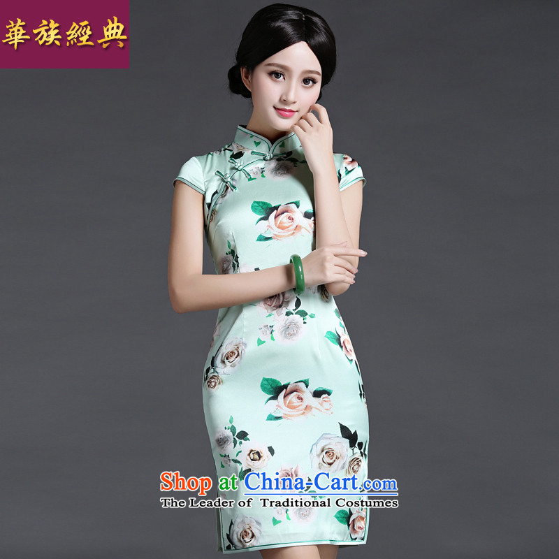 China Ethnic classic 2015 heavyweight silk Ms. herbs extract daily fashion improved cheongsam dress Chinese Antique summer suit燣