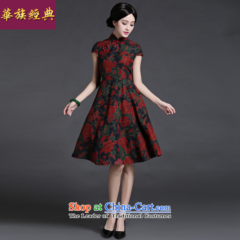 Chinese classic 2015 original ethnic Chinese silk incense cloud retro yarn Ms. daily summer cheongsam dress suit stylish improved燤