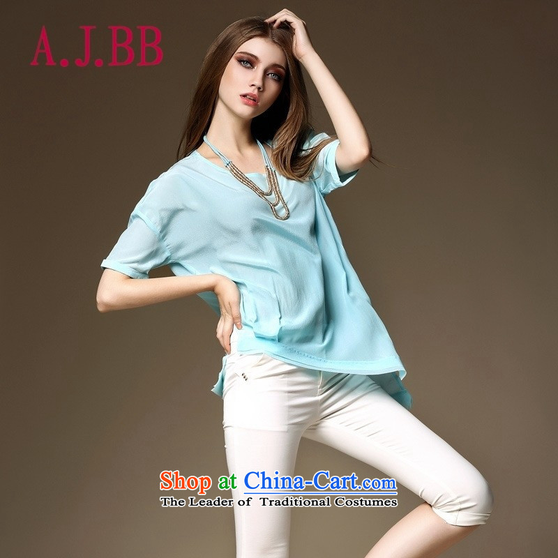Vpro Y2022015 dress summer only load the new minimalist NEW SHIRT silk T-shirt light blue燣