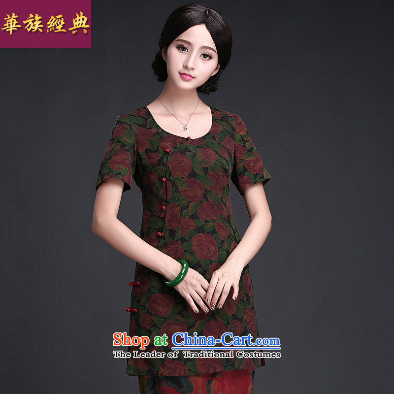 China Ethnic classic 2015 Summer new improved Stylish retro silk yarn daily short cloud of incense, cheongsam dress suit燲XL
