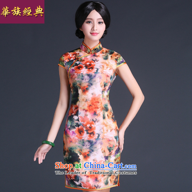 China Ethnic classic 2015 Summer Stylish retro-day qipao Ms. improved short, Retro dresses, temperament abounds Sau San燣