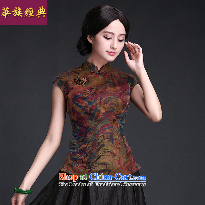 China-Tang dynasty 2015 classic Chinese qipao Ms. Han-improved shirt summer China wind silk yarn t-shirts cloud of incense Suit聽M