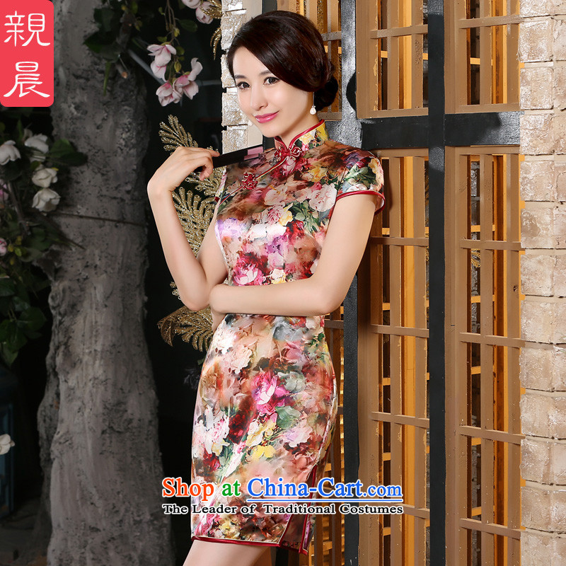 The pro-am New Silk Cheongsam dress 2015 Summer improved daily female qipao stylish, short skirt herbs extract short,燲L-five-day shipping