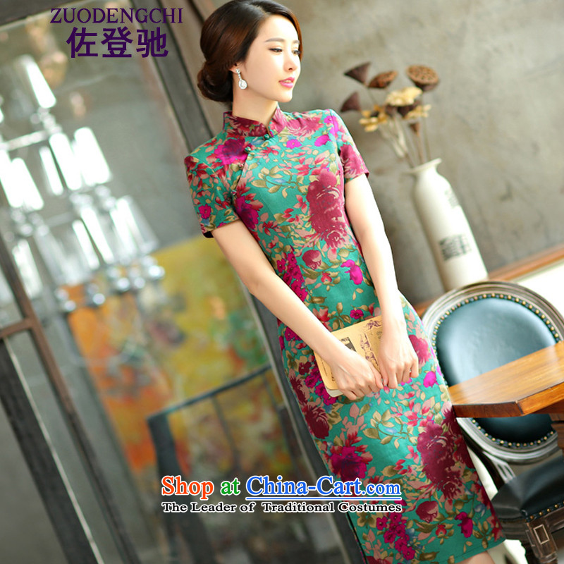 Sato Log?�2015 spring/summer load retro in Short Thin Graphics   large cuff linen long skirt NC321-4 qipao was 9,008 green MUI�XL