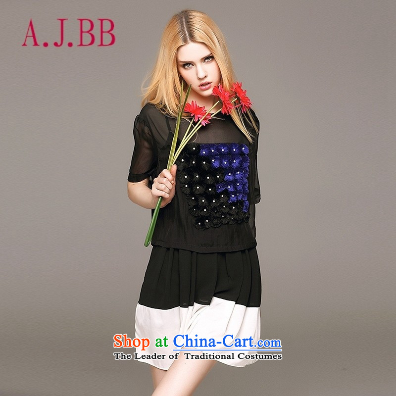Vpro Y3592015 dress new summer only for women elegant T-shirt shirt sweater female black聽L