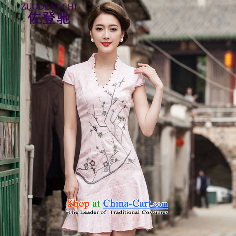 Sato Log?� 2015 Spring/Summer New Short Sleeve V-Neck embroidered Phillips-head nails pearl crowsfoot petticoats embroidery short qipao B518 1123 Red�XXL