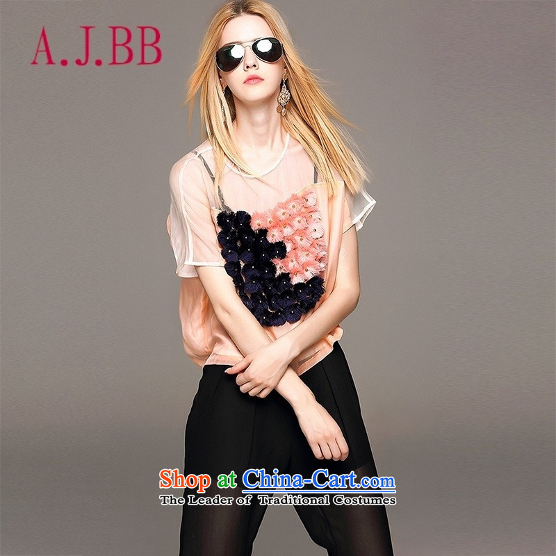 Vpro Y3812015 dress new summer only for women elegant short-sleeved T-shirt pearl nail T-shirt pink聽S,A.J.BB,,, shopping on the Internet