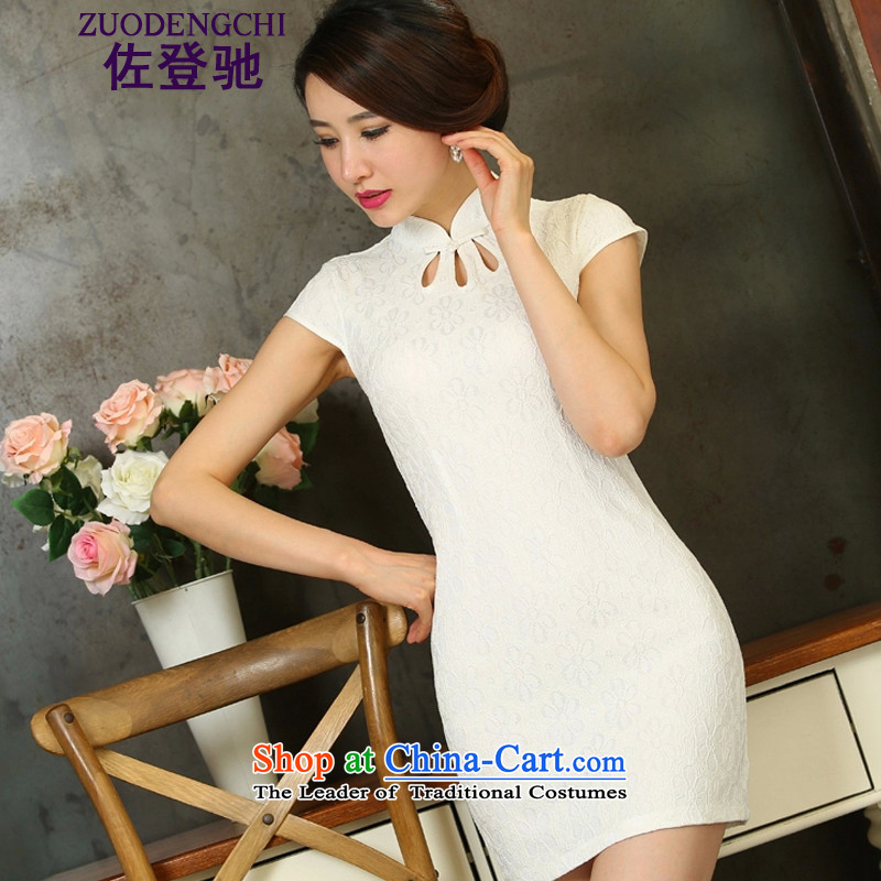 Sato Log?聽2015 spring_summer load new lace cheongsam dress short_ Video thin daily Sau San qipao B518 255 White聽XL