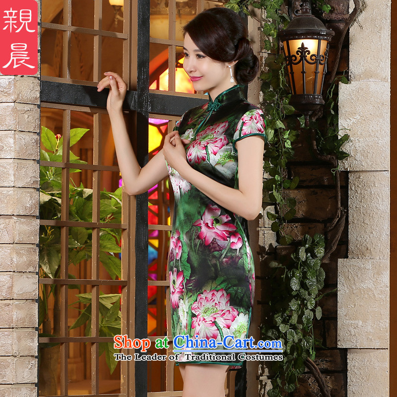 The pro-am New Silk Cheongsam dress 2015 Summer improved daily herbs extract qipao stylish short skirt women, Short,燬-five-day shipping