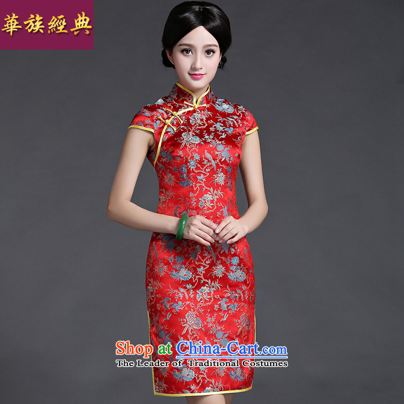 Chinese New Year 2015 classic ethnic Chinese Tang dynasty retro improved day-to-day summer Sau San cheongsam dress female video thin red?XXL