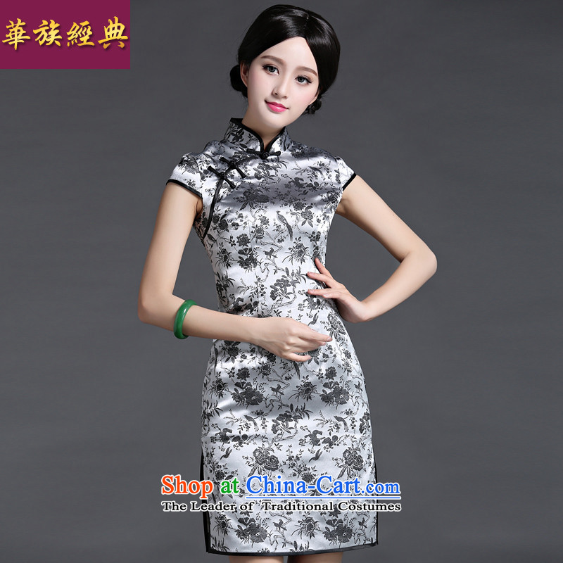 China Ethnic Chinese Antique Summer 2015 Classic of daily short of Ms. cheongsam dress noble improved qipao stylish light gray聽XXXL