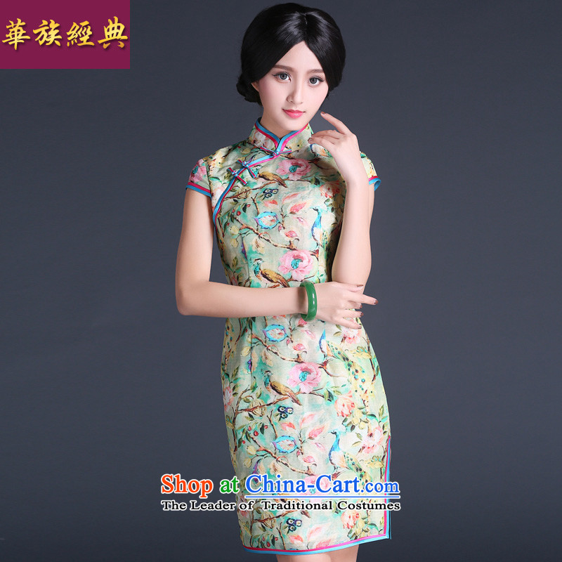 China Ethnic Chinese Summer 2015 classic modern-day President population improved ma short of qipao dresses, Sau San video thin suit燲XL