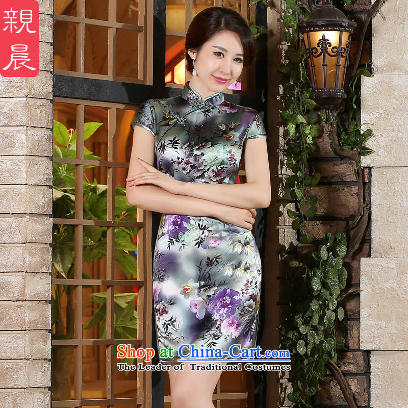 The pro-am new day-to-dos Santos silk cheongsam dress 2015 Summer improved stylish Silk Cheongsam short skirt women, Short,?S-five-day shipping