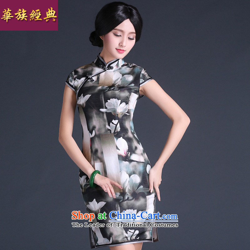 Chinese classic 2015 summer day-to-silk cheongsam dress 2015 new improved stylish summer female Chinese Antique suit燬