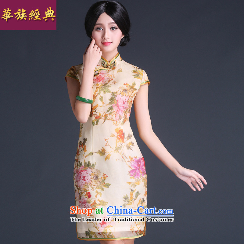 China Ethnic Chinese Antique improvement classic 2015 Sau San video thin short of Silk Cheongsam Ms. Ma-to-day summer dress suit XXL