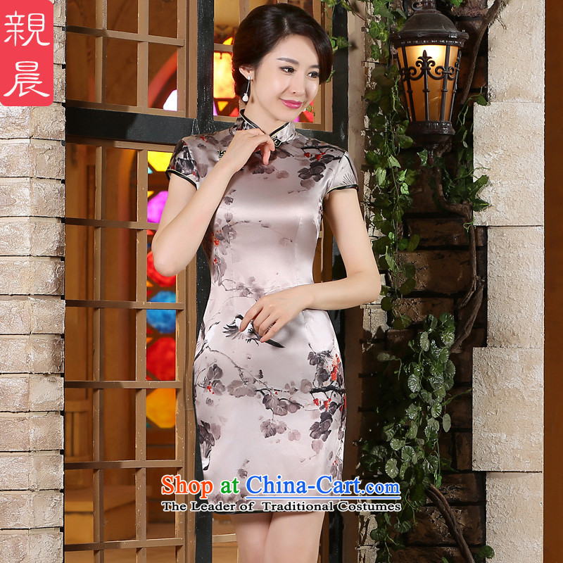 The pro-am New Silk Cheongsam dress 2015 Summer improved daily herbs extract qipao stylish short skirt women, short of a聽five-day shipment 2XL-