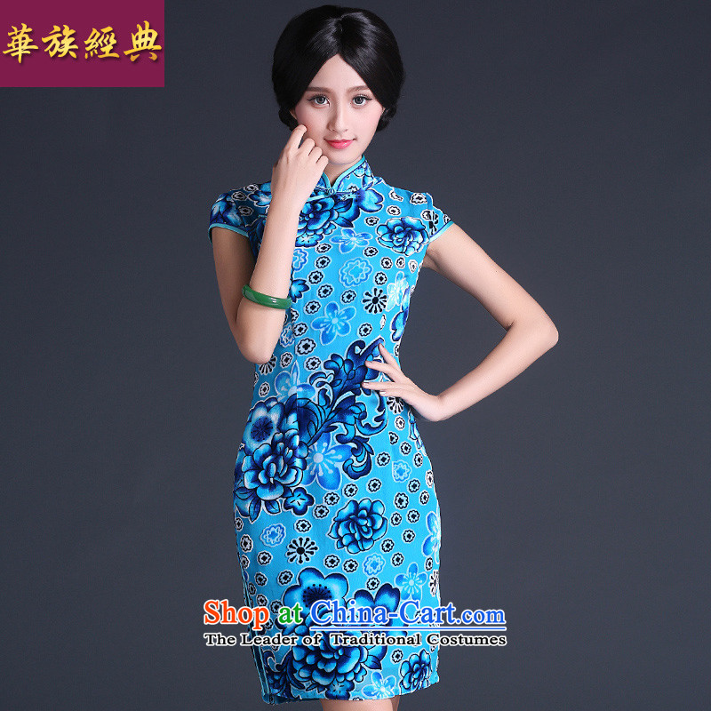 China Ethnic classic 2015 silk burned lint-free summer Tang dynasty, daily cheongsam dress noble retro improved stylish light blue?L