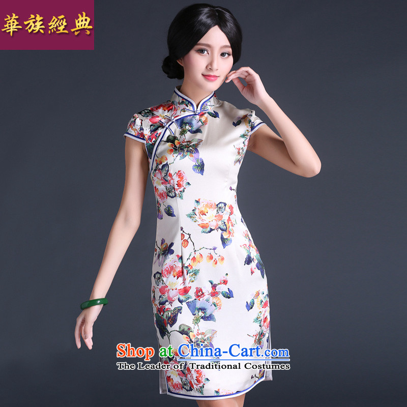 Chinese New Year 2015 classic ethnic Chinese heavyweight silk retro-to-day cheongsam dress stylish summer abounds Ms. improved?XL