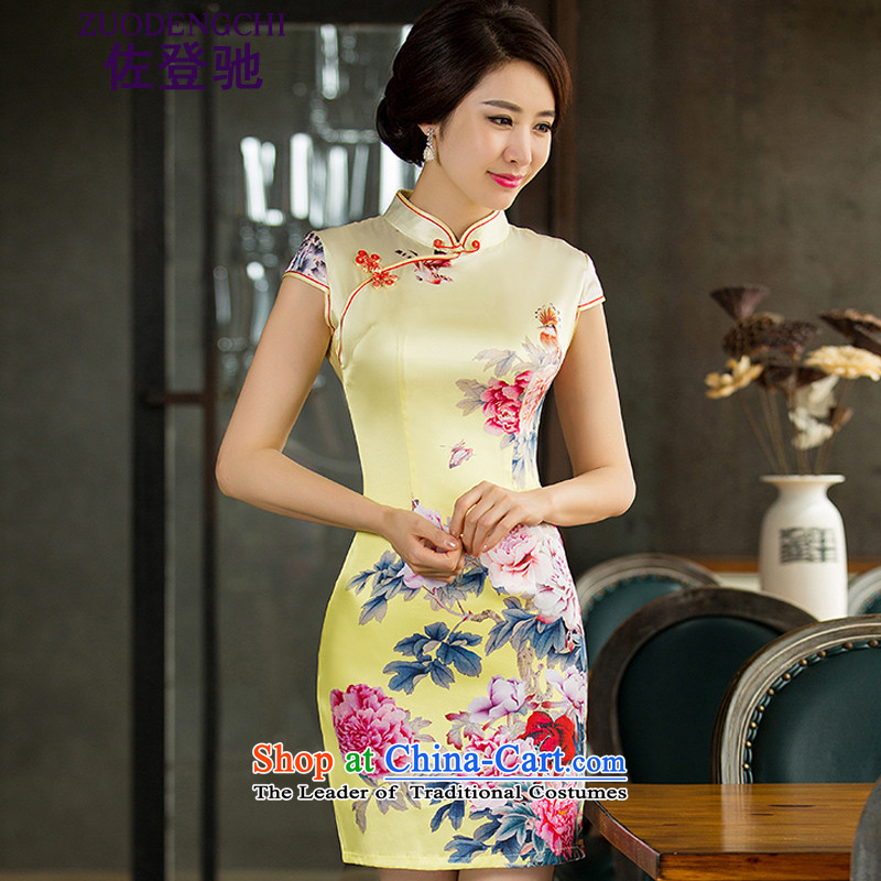 Sato Log?Emulation Silk Cheongsam new cheongsam summer improved retro-republic of korea retro qipao Sau San connected skirt NC321-4 India was 153.99 Yellow聽M
