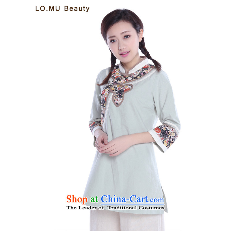 Covered by Ms. Tang dynasty covered by summer cotton linen dress Chinese tea service qipao shirts retro China wind improved Han-figure of�M in color code