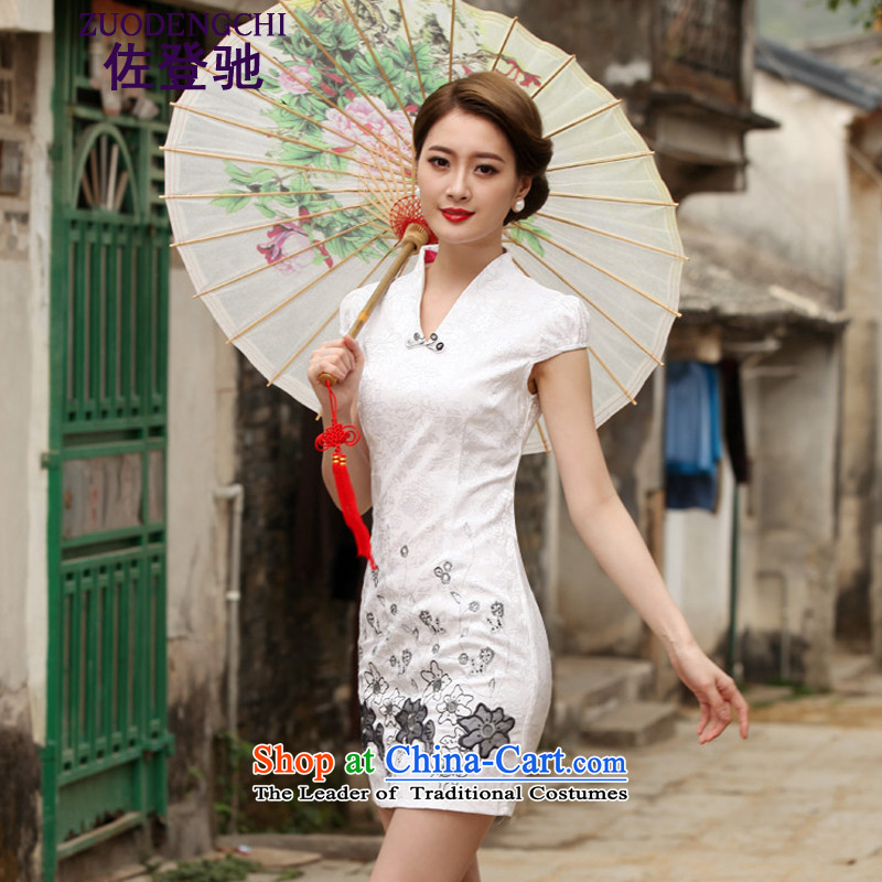 Sato Log?聽2015 new stylish short qipao summer improved cheongsam dress cheongsam dress B518 Ms. daily 1120 White聽XL