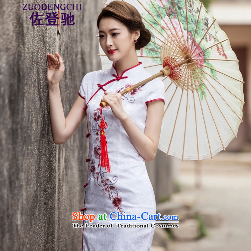 Sato Log? 2015 Spring/Summer New Tang dynasty and the relatively short time, the improvement of nostalgia for the day-to-Sau San cheongsam dress B518 1124 White M