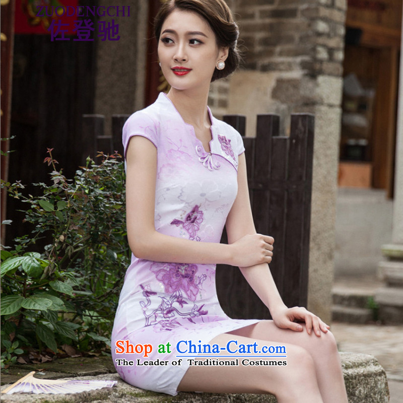 Sato Log?聽2015 Spring Summer Stylish retro QIPAO_ short skirt daily qipao gown B518 skirt 1127 violet聽L