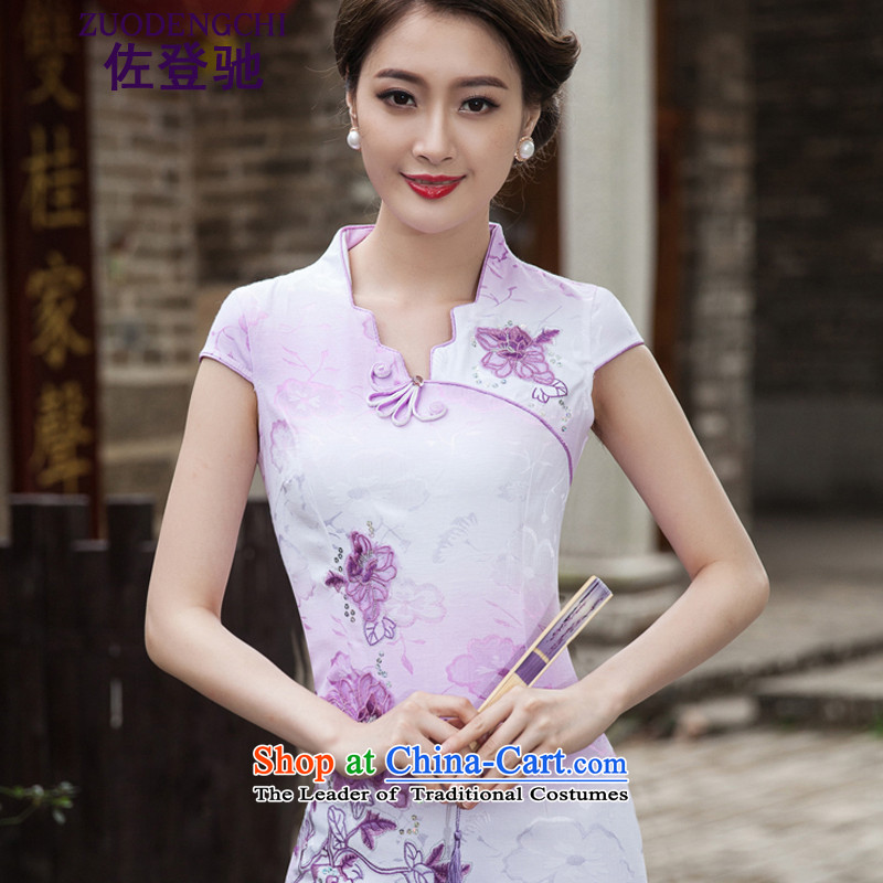 Sato Log?聽2015 Spring Summer Stylish retro QIPAO) short skirt daily qipao gown B518 skirt 1127 Violet聽, L, Sato Log?ZUODENGCHI) , , , shopping on the Internet