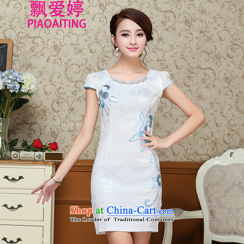For the 2015 Summer Dream female new ethnic Chinese stamp retro look like video thin Sau San short-sleeved package and cheongsam dress light blue?XL